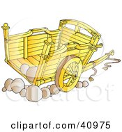 Clipart Illustration Of A Wooden Cart With Stones