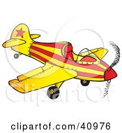 Clipart Illustration Of A Red And Yellow Striped Airplane With A Star by Snowy
