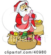 Santa In A Red Suit Admiring The Gifts And Toys In His Sacks