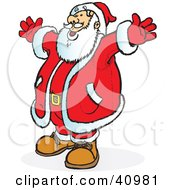 Santa In A Red Suit Holding His Arms Out And Smiling