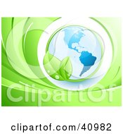 Clipart Illustration Of A Green Leafy Vine Circling Around Planet Earth With The Americas Featured