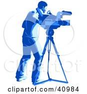 Clipart Illustration Of A Blue Silhouetted Camera Man With A Tripod In A Studio