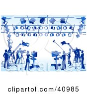Clipart Illustration Of A Blue Silhouetted Scene Of Camera Light And Sound Technicians In A Studio