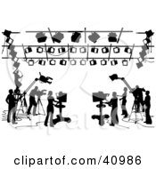 Clipart Illustration Of A Silhouetted Black And White Scene Of Camera Light And Sound Technicians In A Studio