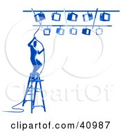 Clipart Illustration Of A Blue Silhouetted Spotlight Technician On A Ladder