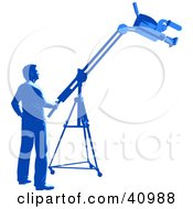 Clipart Illustration Of A Blue Silhouetted Camera Man Operating A Boom In A Studio
