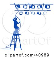 Clipart Illustration Of A Blue Silhouetted Lighting Technician Arranging Spotlights On A Ladder