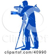 Clipart Illustration Of A Blue Silhouetted Camera Man Signaling