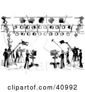 Clipart Illustration Of Silhouetted Black And White Camera Light And Sound Workers In A Studio by Tonis Pan