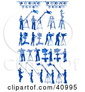 Clipart Illustration Of Blue Silhouetted Media Workers And Lights