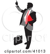 Clipart Illustration Of A Red And Black Silhouette Of A Businessman Pointing by Paulo Resende #COLLC41013-0047