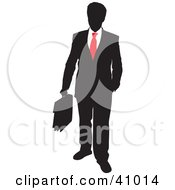 Red And Black Silhouette Of A Businessman Carrying A Briefcase