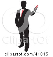 Red And Black Silhouette Of A Businessman Holding A Red Object