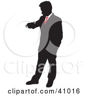 Clipart Illustration Of A Red And Black Punctual Businessman Checking His Watch Silhouette by Paulo Resende #COLLC41016-0047