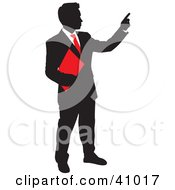 Red And Black Silhouette Of A Businessman Holding A Folder And Pointing