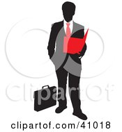 Red And Black Silhouette Of A Businessman Reading A Folder