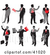 Red And Black Silhouettes Of Businessmen With Briefcases