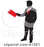 Red And Black Silhouette Of A Businessman Turning In His Folder