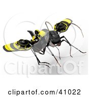 3d Ant Flying And Attached To Futuristic Propellers