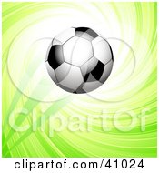 Clipart Illustration Of A Soccer Ball Flying Into The Air Over A Green Swirling Background by elaineitalia