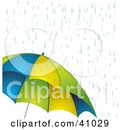 Clipart Illustration Of Rain Showers Pouring Down On A Blue Yellow And Green Umbrella by elaineitalia