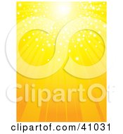 Clipart Illustration Of A Bright Yellow Sun With Sparkling Light Shining Down