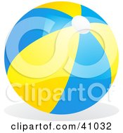 Clipart Illustration Of A Shiny Yellow And Blue Beach Ball