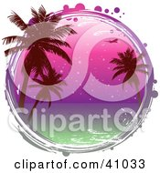 Clipart Illustration Of A Grungy Circle Framing A Scene Of Palm Trees Against A Purple Ocean Sunset