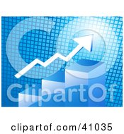 Clipart Illustration Of A White Arrow Over A Blue Bar Graph With A Bright Goal Illuminated On A Grid