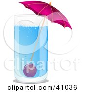 Clipart Illustration Of A Blue Cocktail Served With A Pink Umbrella And A Cherry by elaineitalia