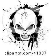 Cracked Evil Human Skull With Black Grunge