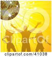 Clipart Illustration Of A Man And Two Women Dancing Under A Gold Disco Ball On A Sparkling Yellow Background