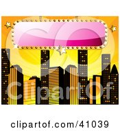 Clipart Illustration Of A Blank Pink Sign Bordered In Gold Over A Yellow Background With Skyscrapers by elaineitalia