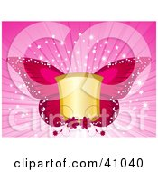 Clipart Illustration Of A Blank Golden Shield With Pink Butterfly Wings On A Bursting Sparkling Background