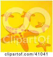 Clipart Illustration Of Scattered Starfish On Yellow by elaineitalia