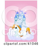 Cute White Unicorn Resting On A Cloud In Front Of A Blue Castle