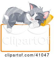Clipart Illustration Of An Adorable Gray Kitten Napping On A Pillow Over A Blank Text Box