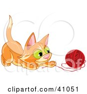 Clipart Illustration Of A Frisky Orange Kitten Playing With A Ball Of Red Yarn