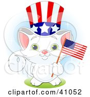 Adorable White Independent Kitten Wearing An Uncle Sam Hat And Holding An American Flag