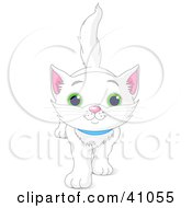 Clipart Illustration Of A Cute And Curious White Kitten Walking Forward