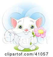Adorable White Kitten With Green Eyes Holding A Pink Flower