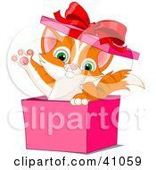 Clipart Illustration Of An Adorable Orange Kitten Popping Out Of A Pink Gift Box And Waving