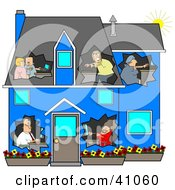Clipart Illustration Of A Networked Family Using Their Computers In Their Own Rooms Of A Blue House