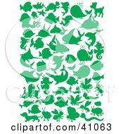Clipart Illustration Of Green Ocean And Land Animal Silhouettes In Green