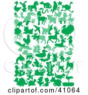 Clipart Illustration Of Green Land And Sea Animal Silhouettes In Green