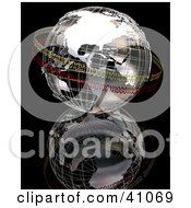 Clipart Illustration Of A Chrome Binary World Circled In Yellow And Red Binary Bands