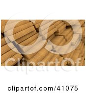Clipart Illustration Of A Background Of 3d Wood Planks