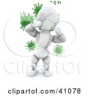 Clipart Illustration Of A White Character Doctor Standing In Front Of Green Virus Bacteria by KJ Pargeter