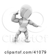 Clipart Illustration Of A White Character Pointing To His Head While Thinking