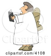 Female Angel Reading From A Book Clipart by Dennis Cox